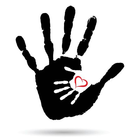 Vector concept or conceptual cute paint hand of mother child and heart shape isolated on white background Illustration