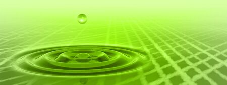Conceptual green liquid drop falling in water with ripples and waves background banner