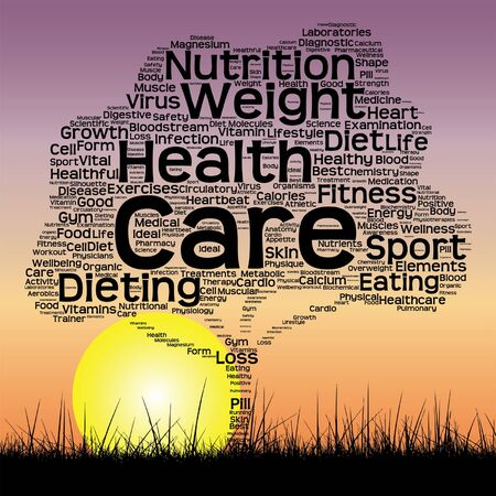 Vector conceptual health tree at sunset  word cloud with sun and grass Illustration