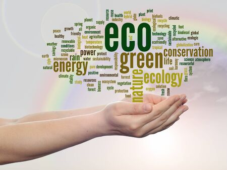 Conceptual ecology word cloud in hands over rainbow sky background