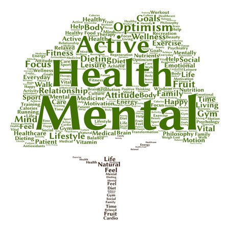 mentally: Vector concept or conceptual mental health or positive thinking tree word cloud isolated on background