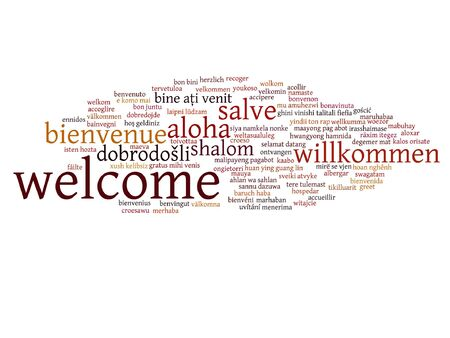 multilingual: Vector concept or conceptual abstract welcome or greeting international word cloud in different languages or multilingual