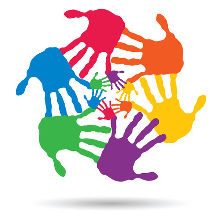 Vector concept or conceptual children painted hand print isolated on white background