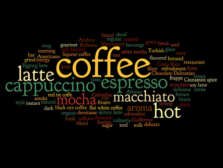 cappuccino: Vector concept conceptual creative hot coffee, cappuccino or espresso abstract word cloud isolated on background Illustration