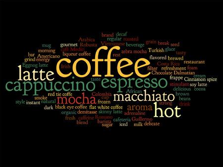 capuchino: vector concepto conceptual creativo café caliente, capuchino o café expreso nube palabra abstracta aislado en el fondo
