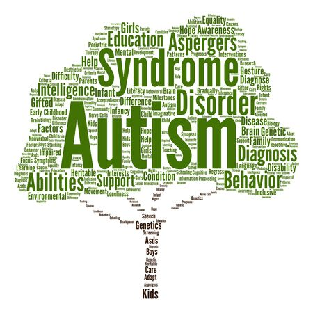 Vector conceptual childhood autism syndrome or disorder abstract tree word cloud isolated Illustration