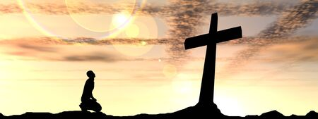 Conceptual religion black cross with a man praying at sunset background banner Stock Photo