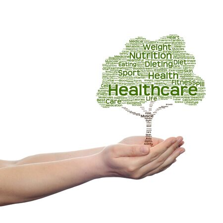 Conceptual health tree word cloud hand isolated on white background Stock Photo