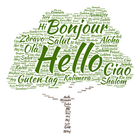 dialect: Vector conceptual abstract hello or greeting international tree word cloud in different languages