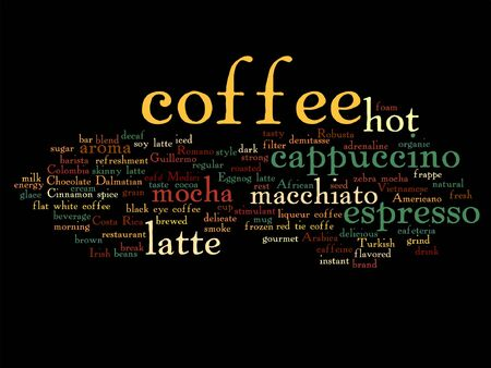 Vector concept conceptual creative hot coffee, cappuccino or espresso abstract word cloud isolated on background Illustration