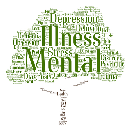 mental illness: Vector conceptual mental illness disorder management or therapy abstract tree word cloud isolated