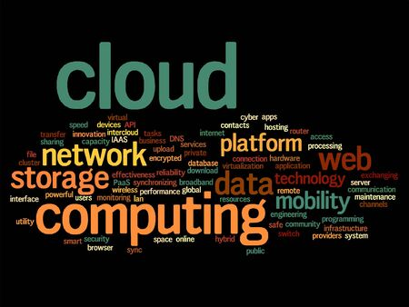 communication metaphor: Vector concept conceptual web cloud computing technology abstract wordcloud isolated on background, metaphor to communication Illustration