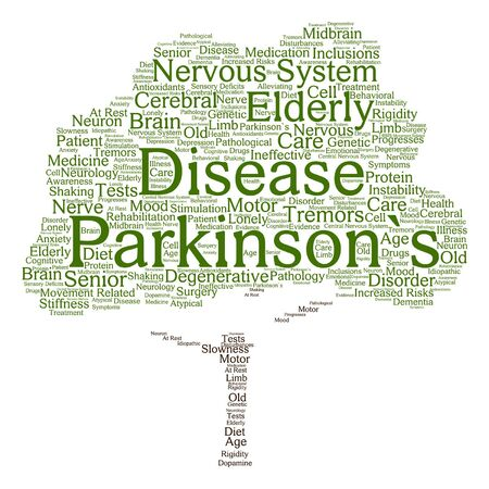 parkinson's disease: Vector concept conceptual Parkinson`s disease healthcare or nervous system disorder abstract tree word cloud isolated on background Illustration