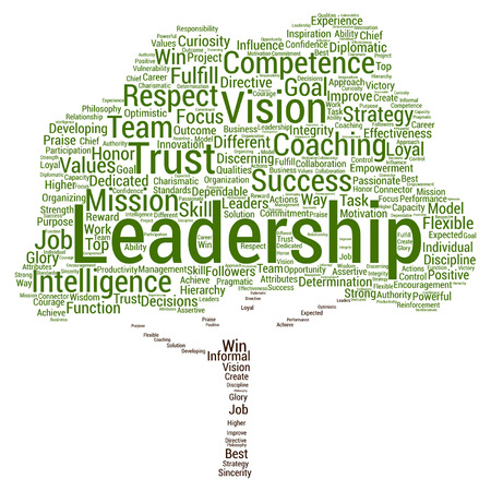 leadership management: Vector concept or conceptual business leadership, management value tree word cloud isolated on background Illustration