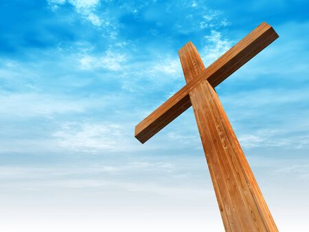 bright sky: Concept or conceptual wood cross or religion symbol shape over a blue sky with clouds background