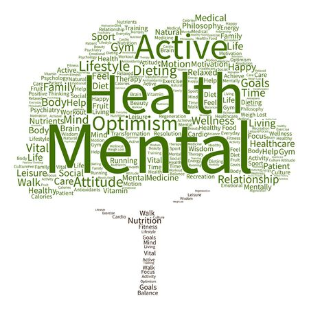 mentally: Vector conceptual mental health or positive thinking abstract tree word cloud isolated