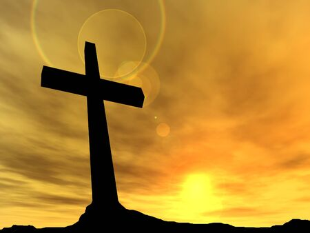 Conceptual black cross or religion symbol silhouette in rock landscape over a sunset background Stock Photo