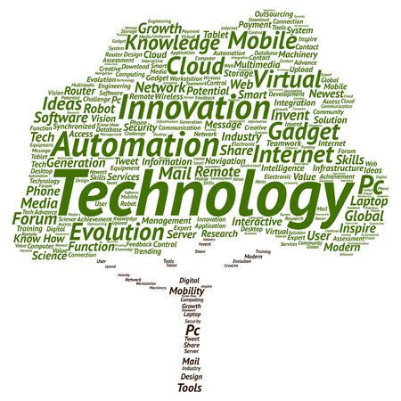 mobile application: Vector concept or conceptual digital smart technology, media tree word cloud isolated on background