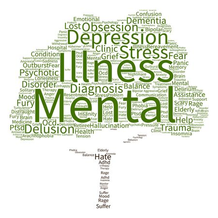 rehab: Vector conceptual mental illness disorder management or therapy abstract tree word cloud isolated