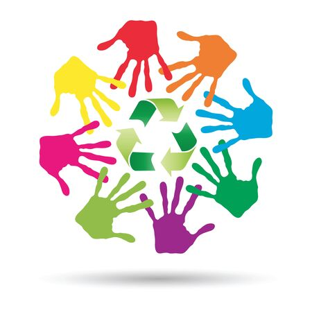 niños reciclando: Conceptual circle or spiral made of painted human hands with green recycle symbol