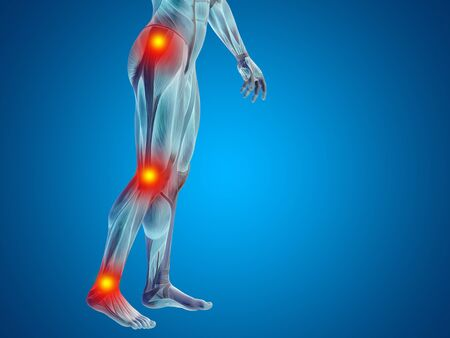 Conceptual human body anatomy articular pain blue background Stock Photo