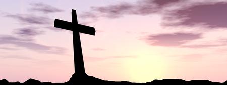 Begriffsschwarzes Kreuz- oder Religionssymbolschattenbild in der Rocklandschaft über einer Sonnenunterganghintergrundfahne Standard-Bild - 67915879