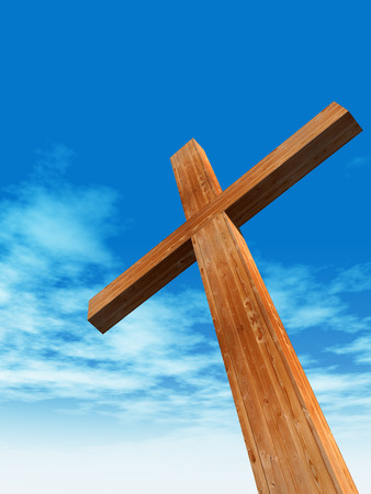 easter cross: Concept or conceptual wood cross or religion symbol shape over a blue sky with clouds background