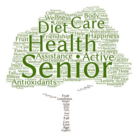 health elderly: Vector conceptual old senior health, care or elderly people abstract tree word cloud isolated Illustration