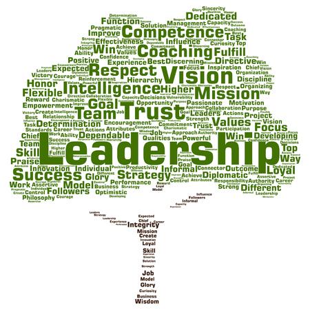 Vector concept of conceptuele zakelijke leiderschap, management waarde boom woord wolk geïsoleerd op achtergrond Stock Illustratie