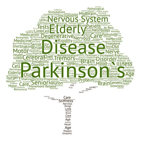 disorder: Vector conceptual Parkinson`s disease healthcare or nervous system disorder tree word cloud isolated