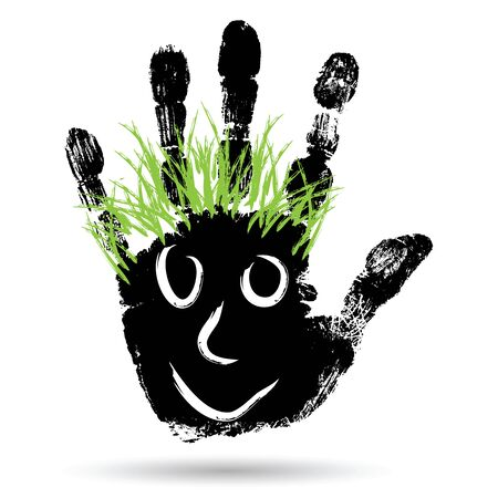 caras pintadas: Conceptual cute paint human hand or handprint of child with happy face and green hair isolated on white