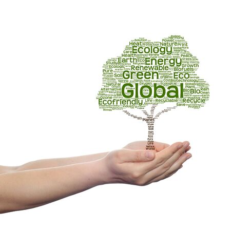 Conceptual ecology tree word cloud in hands isolated on white background Stock Photo