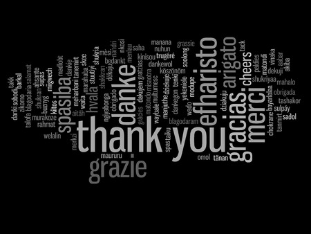 word: Conceptual thank you word cloud isolated for business or Thanksgiving Day