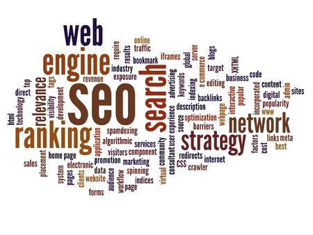 Vector concept conceptual search engine optimization, seo abstract round word cloud isolated on background Illustration