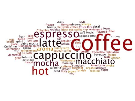 word: Vector concept conceptual creative hot coffee, cappuccino or espresso abstract word cloud isolated on background Illustration