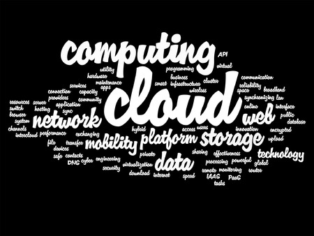 communication metaphor: Vector concept conceptual web cloud computing technology abstract wordcloud isolated on background metaphor to communication Illustration