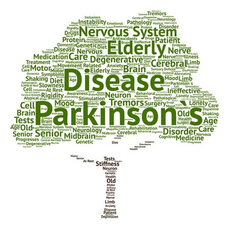 rigidity: Vector conceptual Parkinson`s disease healthcare or nervous system disorder tree word cloud isolated