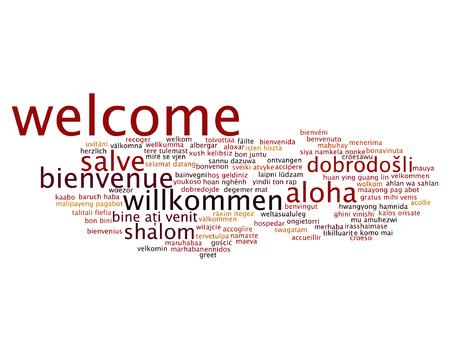 Konzept oder konzeptionelle Zusammenfassung willkommen oder Gruß internationalen Wortwolke in verschiedenen Sprachen oder mehrsprachig isoliert Standard-Bild - 68614219