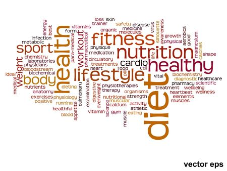 Conceptual health or diet or nutrition word cloud concept isolated on background Illustration