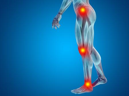 Conceptuel l'anatomie du corps humain douleur articulaire fond bleu Banque d'images - 68980971