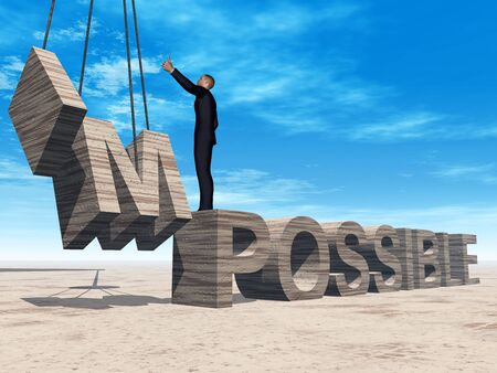 impossible: Conceptual 3D business man standing over abstract stone impossible text over sky