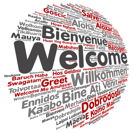 multilingual: Concept or conceptual abstract welcome or greeting international word cloud in different languages or multilingual isolated Stock Photo