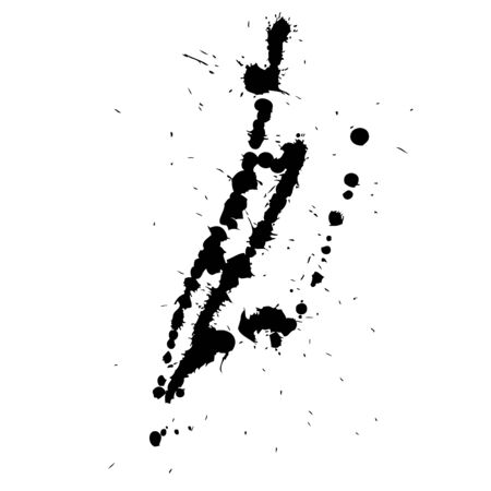 paint drop: Artistic black paint hand made creative wet dirty ink or oil drop spots silhouette isolated on background Stock Photo