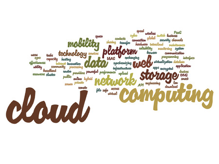 Vector concept conceptual web cloud computing technology abstract wordcloud isolated on background Illustration