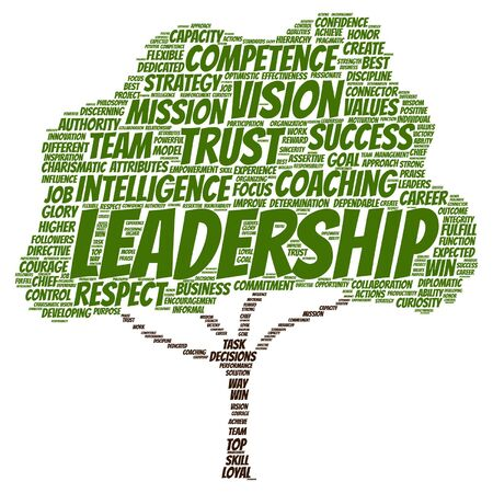 Vector concept or conceptual business leadership, management value tree word cloud isolated on background Illustration