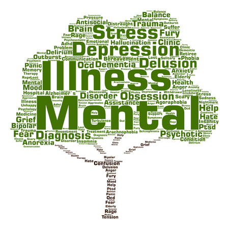 Vector conceptual mental illness disorder management or therapy abstract tree word cloud isolated