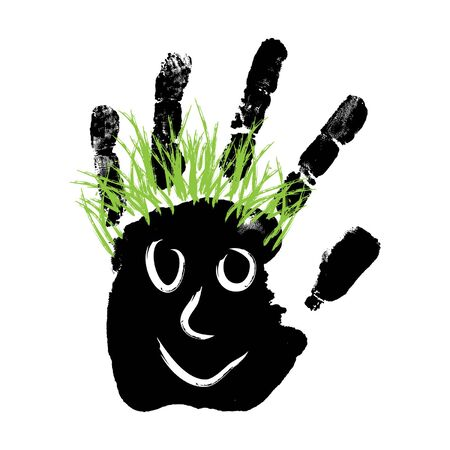 green hair: Vector conceptual cute paint human hand or handprint of child with happy face and green hair isolated on white background