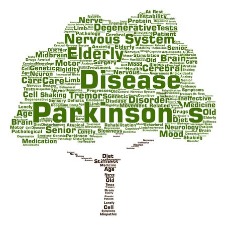 parkinson's disease: Vector conceptual Parkinson`s disease healthcare or nervous system disorder tree word cloud isolated