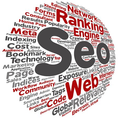 search engine optimization: Concept or conceptual search engine optimization, seo abstract word cloud isolated on background