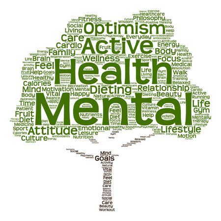 Vector conceptual mental health or positive thinking abstract tree word cloud isolated